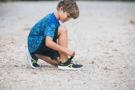 Tenis de caminata deportiva para niños Soft 140 negro/amarillo