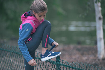 נעלי הליכה נושמות ספורטיביות לילדים דגם Soft 140 Fresh - כחול צי/קורל
