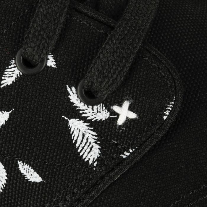 Lage skateboardschoenen heren Vulca Canvas veertjes zwart
