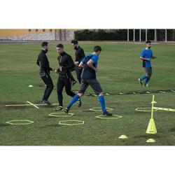 T500 成人長版足球運動訓練短褲 - 灰色/藍色