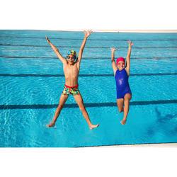 Maillot de bain de natation fille une pièce Leony shorty marine
