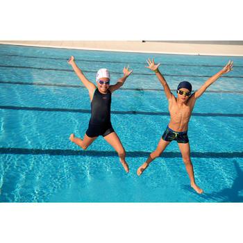 Maillot de bain de natation fille une pièce Leony shorty marine - 1129182