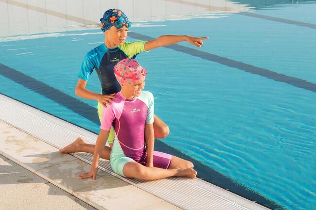 Girl Swimming Costume warm wear - Pink Blue