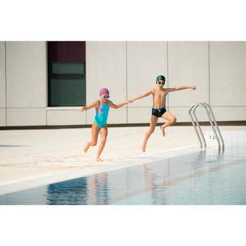 Meisjesbadpak Leony+ voor zwemmen blauw/paars andili