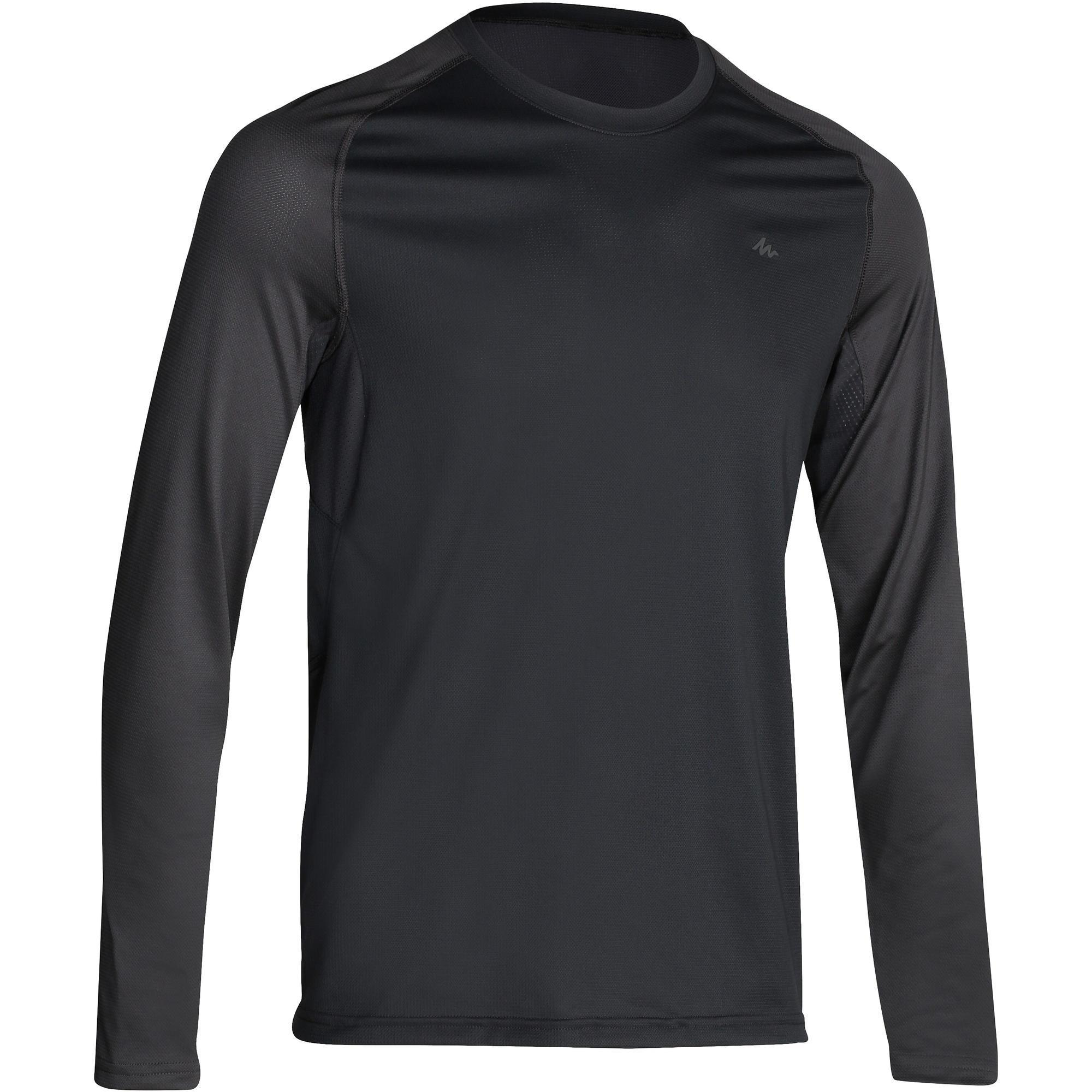 TechFRESH 100 Men's Long-Sleeved Hiking T-Shirt - Dark Grey | Quechua