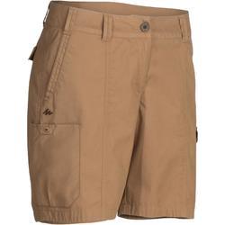 女款健行短褲Travel 100-棕色