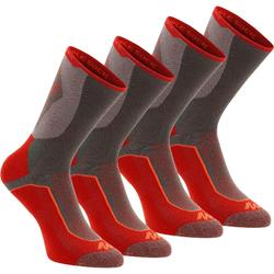 High-top mountain walking socks. MH 520 2 Pairs - Red
