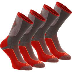 Chaussettes de randonnée montagne tiges high. 2 paires Forclaz 520 D rouge