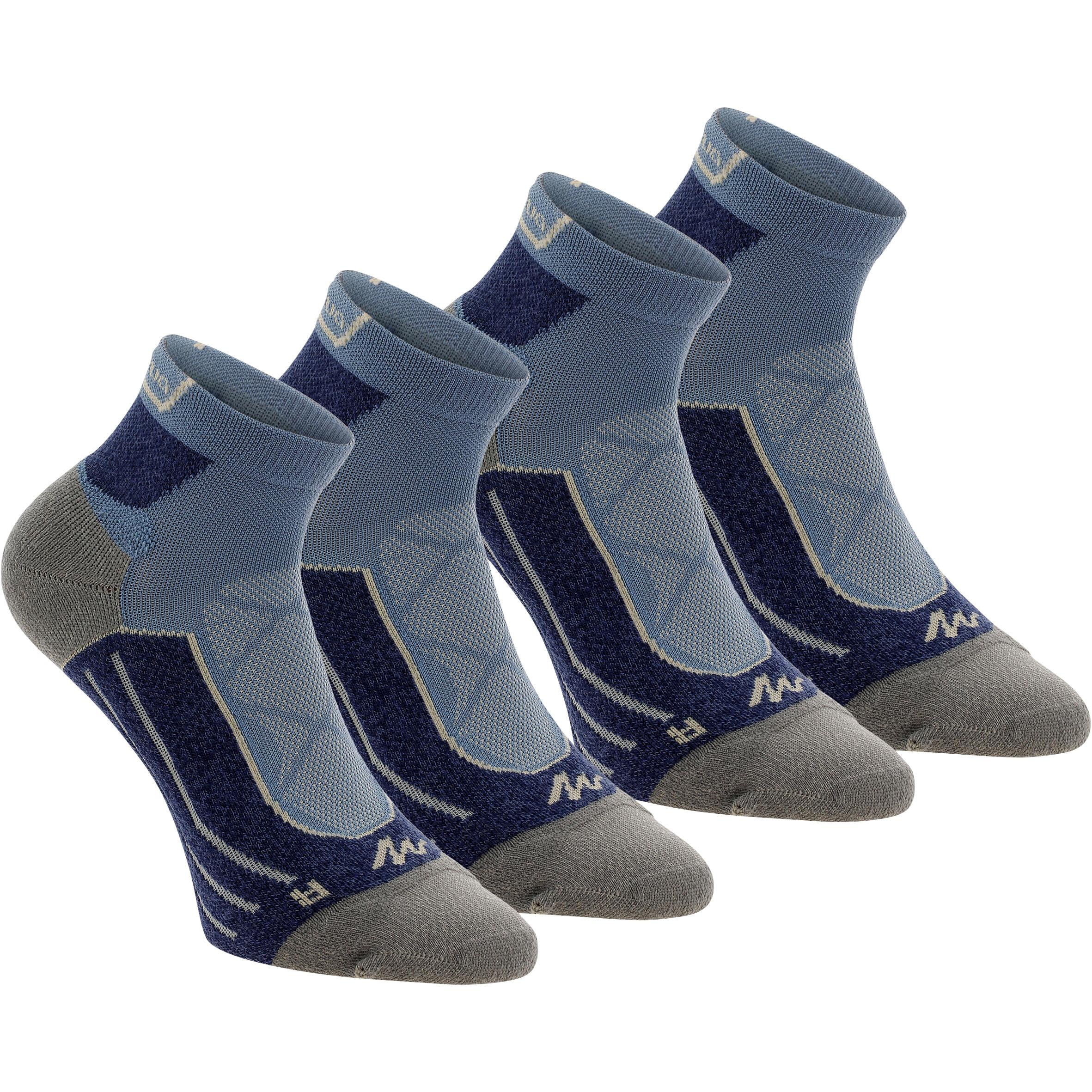 Wandersocken Bergwandern MH900 Mid 2 Paar, blau/grau. | Sportbekleidung > Funktionswäsche > Wandersocken | Grau - Blau | Quechua