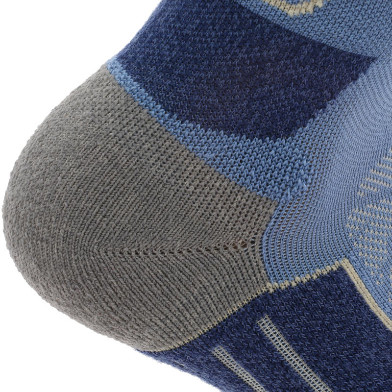 Mountain Hiking Mid-Length Socks. MH 900 2 Pairs - blue/grey