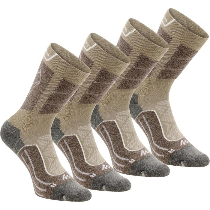 Chaussettes de randonnée montagne tiges high. 2 paires Forclaz 900 beige