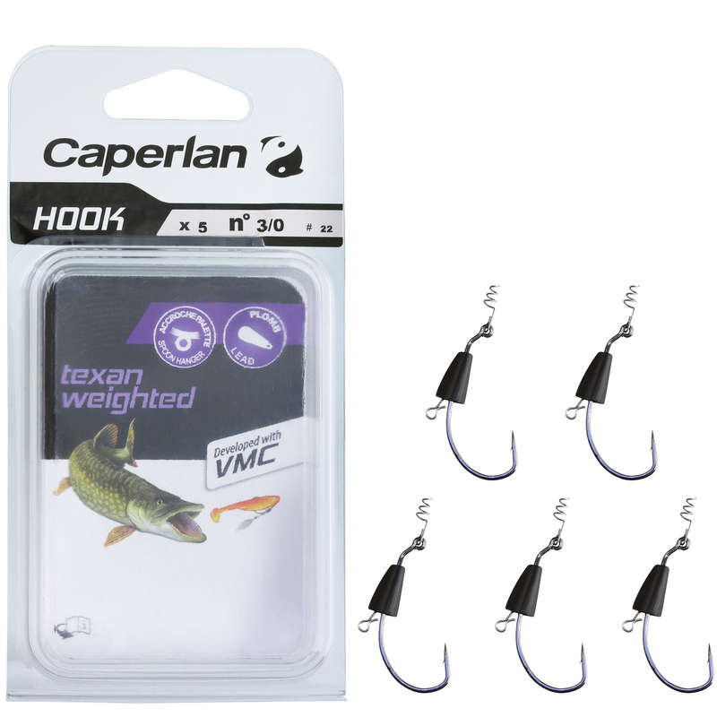 SOFTBAITS RIGGINC ACCESSORIES Fishing - TEXAN WEIGHTED HOOK 3/0 CAPERLAN - Pike and Predator Fishing
