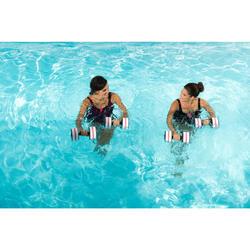 女款單件式水中健身泳衣Karol Shortcut - 海軍藍橙色