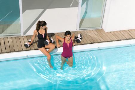 Traje de baño de una pieza shorty para mujer de aquaeróbics Karol negro naranja