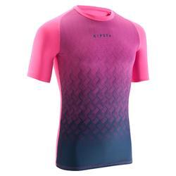 Thermoshirt voor warm weer Keepdry 100 korte mouwen volwassenen roze/blauw