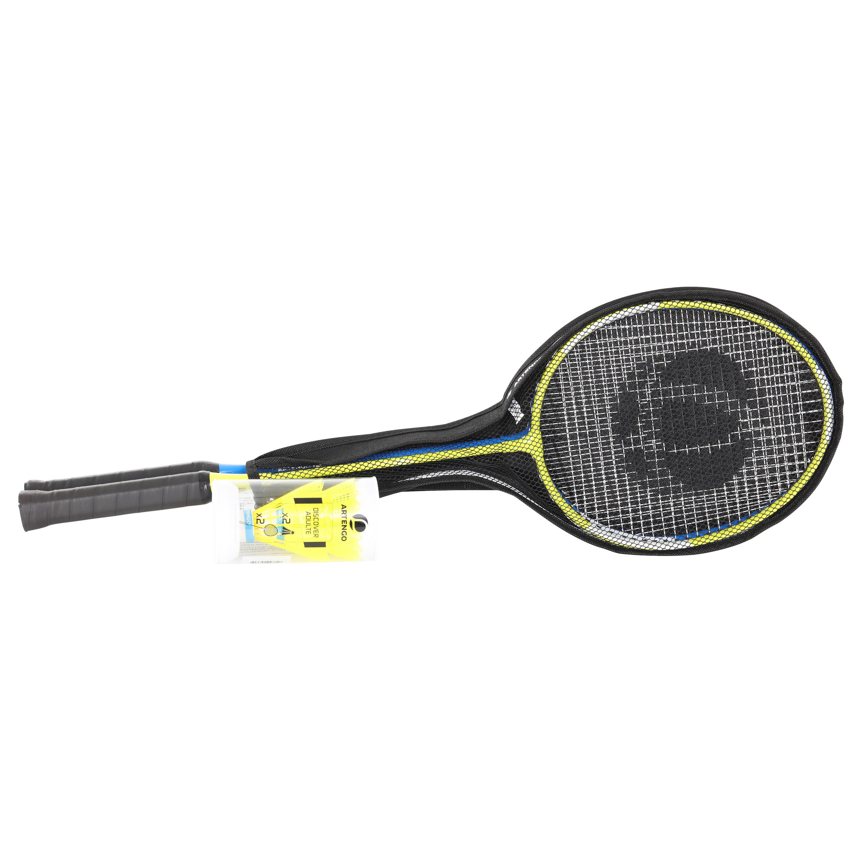 Artengo Set badmintonrackets voor volwassenen - startset - geel/blauw - Artengo
