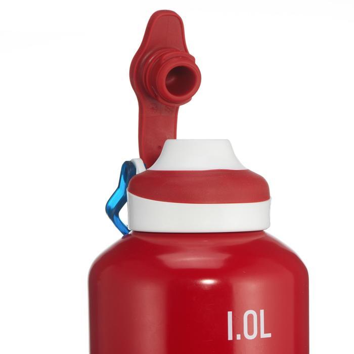 Drinkfles voor wandelingen 500 sneldop 1 liter aluminium rood