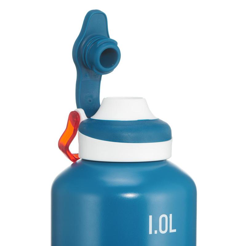 Gourde randonnée 500 bouchon ouverture rapide 1 litre aluminium bleu
