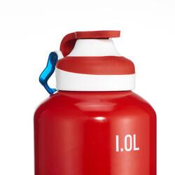 Cantimplora de senderismo 500 tapón apertura rápida 1 litro aluminio rojo