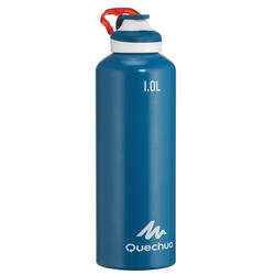 500 Aluminum 1 L Hiking Water Bottle with Quick Opening Top - Blue