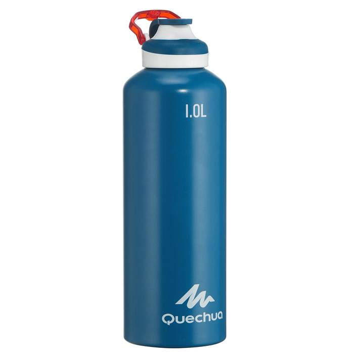 500 Aluminium 1 L Hiking Water Bottle with Quick Opening Top - Blue