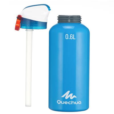 Hiking water bottle 900 with snap-on lid w. integral straw 0.6 L -blue aluminium
