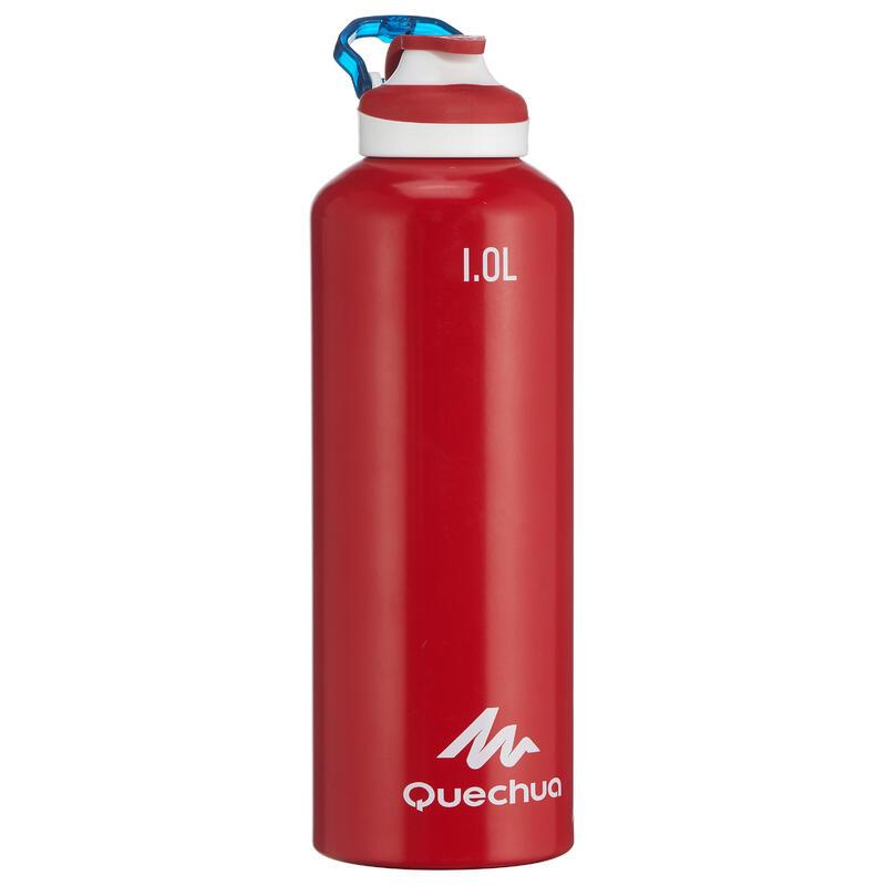 Cantimplora Botella Aluminio Camping Quechua 500 Apertura Fácil 1Litro Rojo