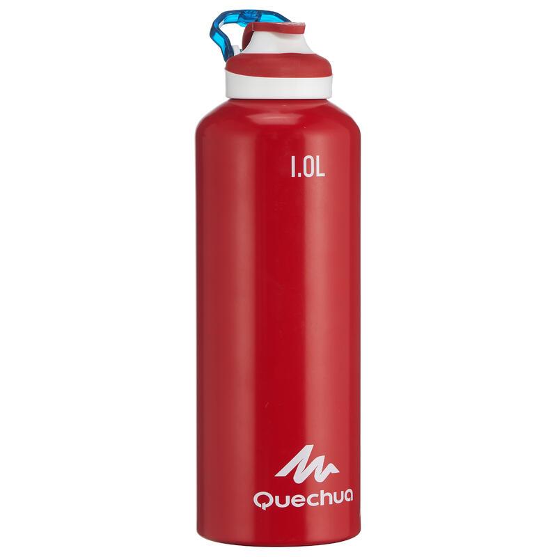 Cantimplora Botella Aluminio 1 L Quechua 500 Camping Apertura Fácil Rojo