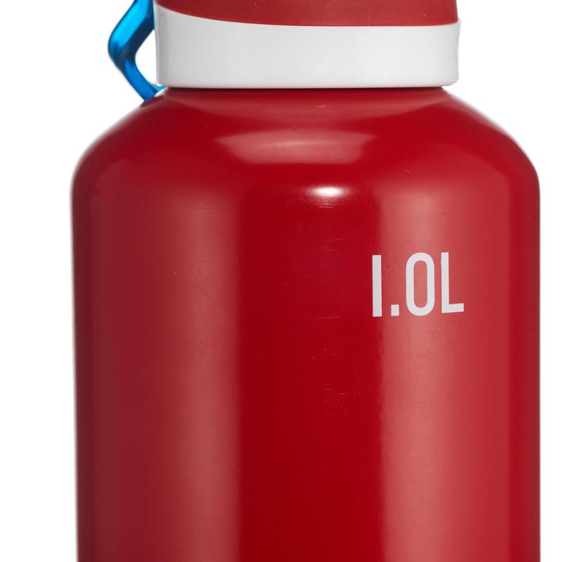 Cantimplora senderismo 500 tapón apertura rápida 1 litro aluminio rojo