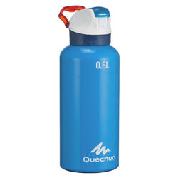 Hiking Water Bottle 900 with Snap-On Lid w. Built-In Straw 0.6L - Blue Aluminum