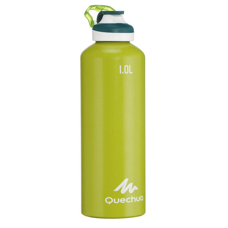 Cantimplora Botella Aluminio Camping Quechua 500 Apertura Fácil 1Litro Verde