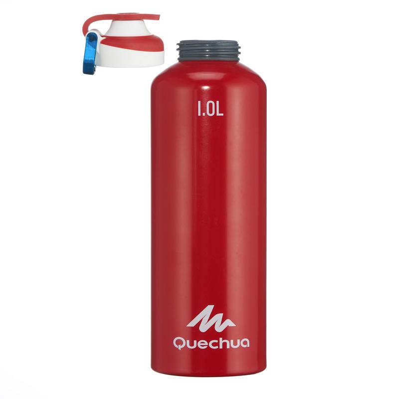 Gourde randonnée 500 bouchon ouverture rapide 1 litre aluminium rouge