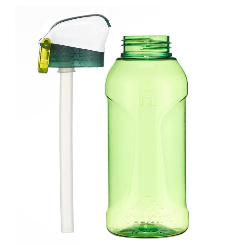 Hiking Water Bottle Instant Stopper with Straw 900 Tritan 0.5 Litre - Green