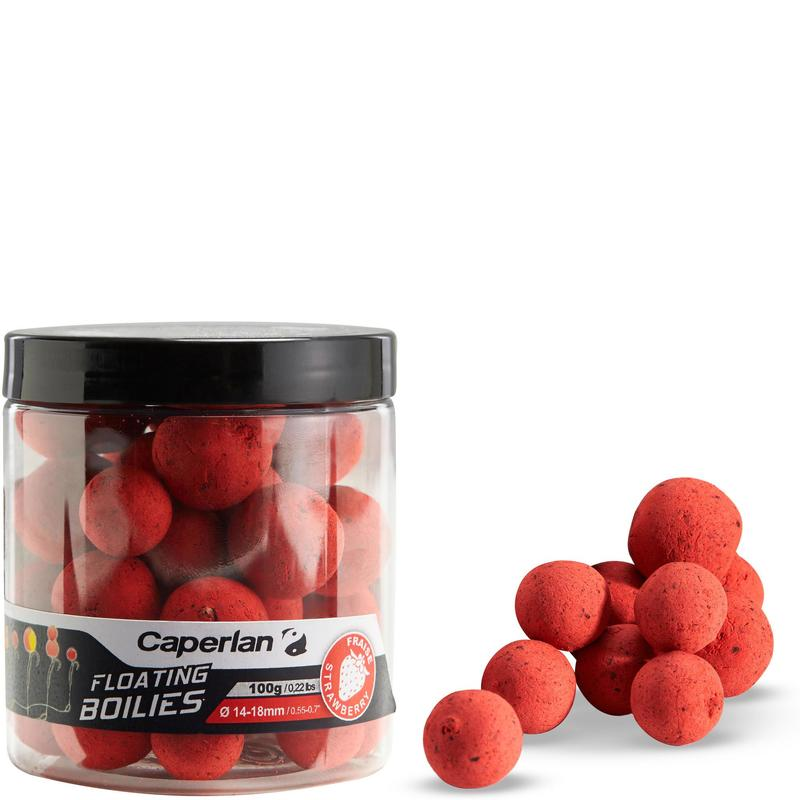 bouillettes flottantes pêche de la carpe strawberry 100gr 14 et 18mm