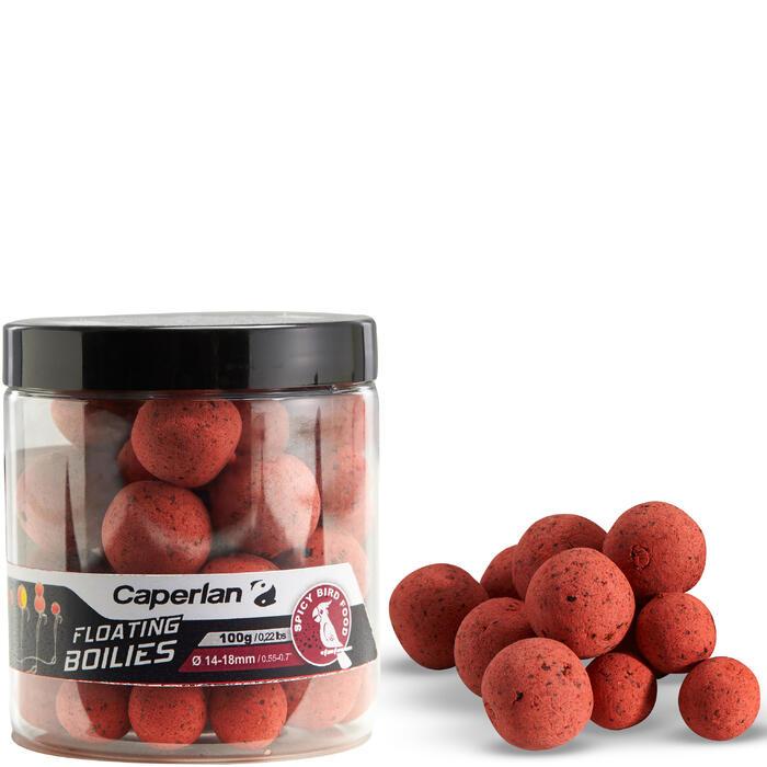 Boilies flotantes para carpfishing spicybirdfood 100 g 14 y 18 mm