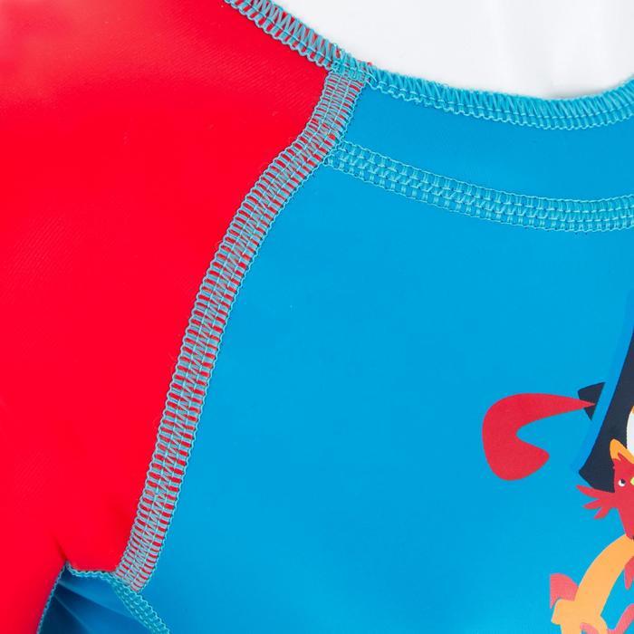 Bañador Neopreno Bebe Natación Nabaiji Shorty Manga Corta Azul/Rojo Estampado