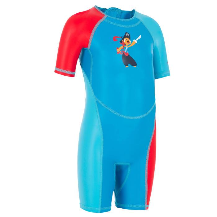 Bañador Neopreno Bebe Natación Kloupi Nabaiji Shorty Azul/Rojo Estampado