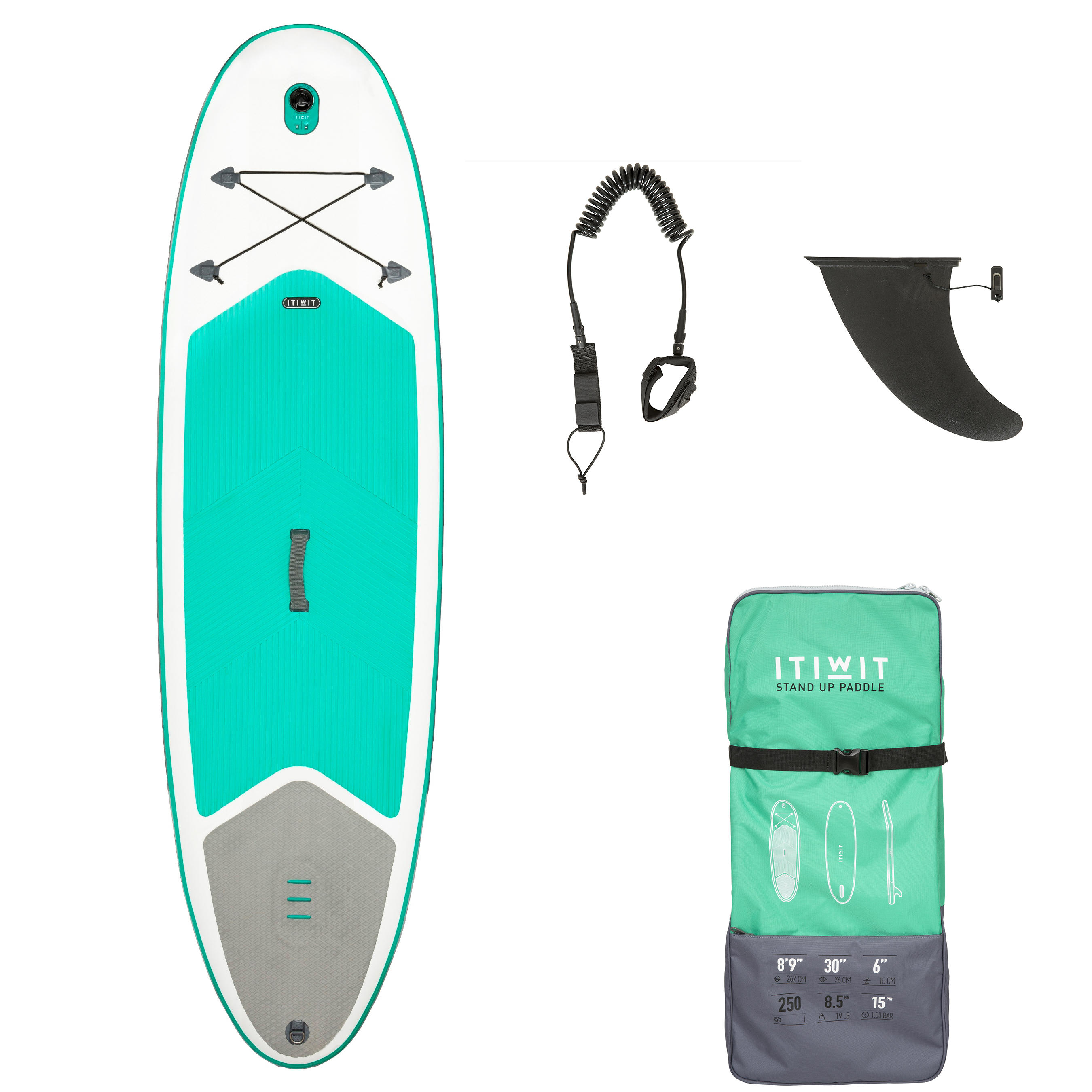"100 Inflatable Touring Stand Up Paddle 8'9"" - Green"