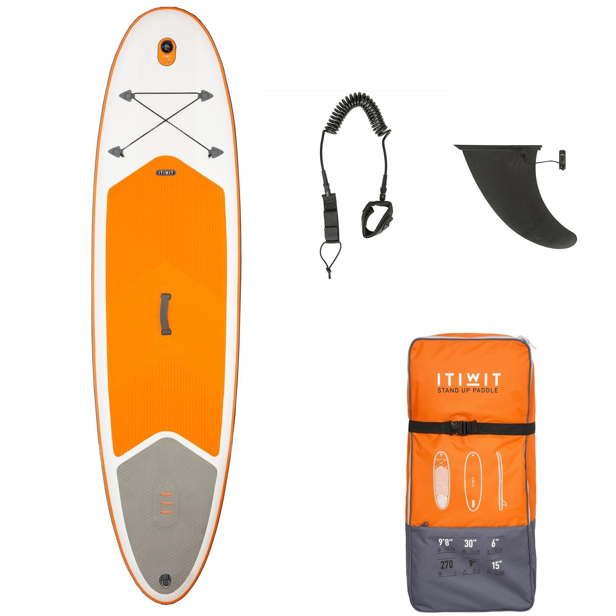stand up paddle gonflable randonnee 100 9 39 8 orange tribord. Black Bedroom Furniture Sets. Home Design Ideas