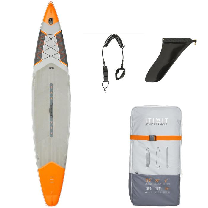 """STAND UP PADDLE GONFLABLE RANDONNEE COURSE 500 / 12'6-29"""" ORANGE - 1132651"""
