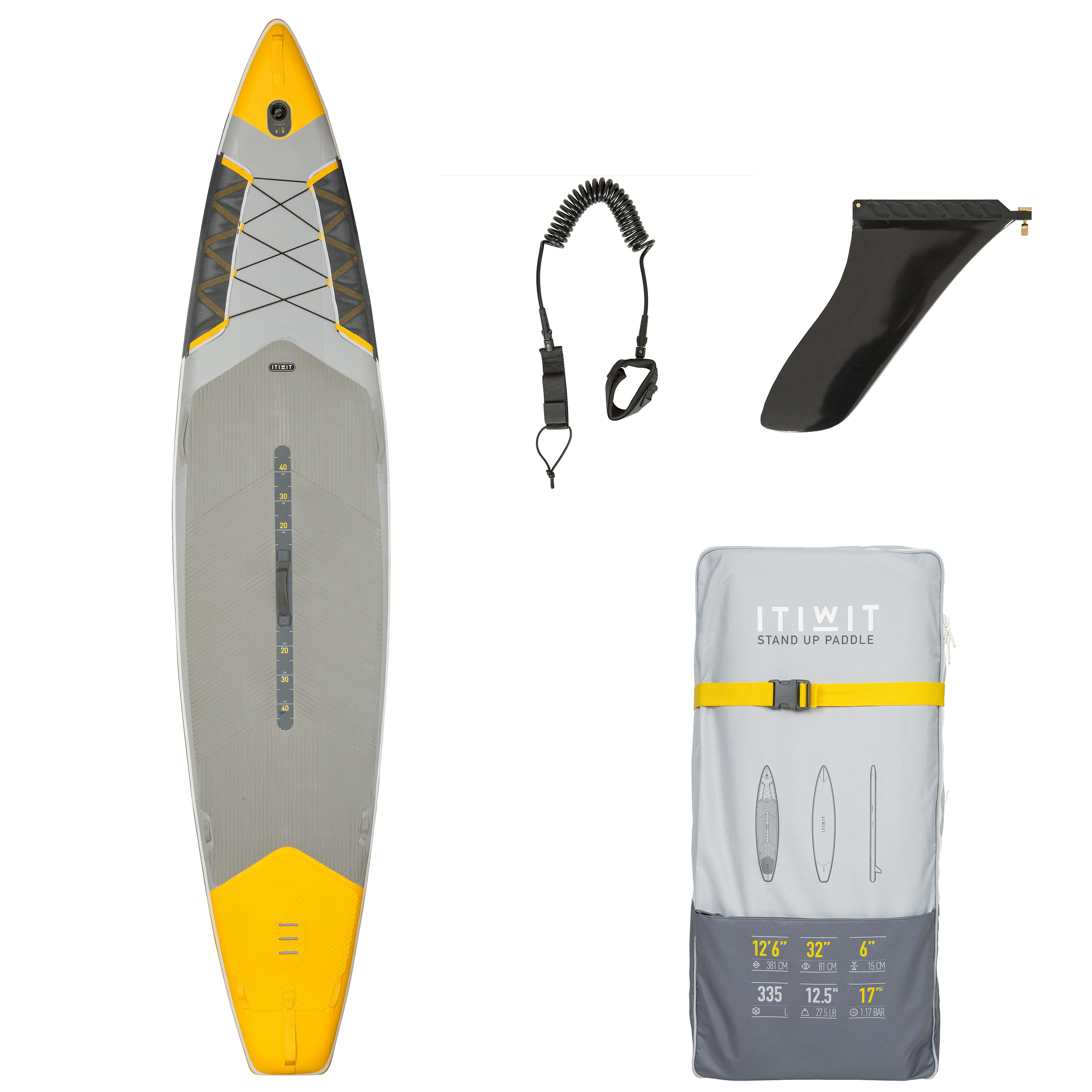 "500 Touring Racing Inflatable Stand Up Paddle Board 12'6 - 32"" - Yellow"