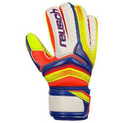 Keepershandschoenen voetbal kinderen Serathor Finger Support blauw/geel