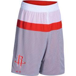 Pantalón corto de baloncesto adulto NBA Rockets reversible rojo gris