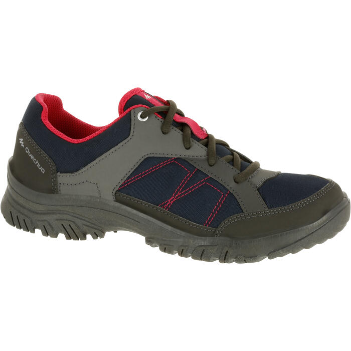 Schoenen voor wandelen in de natuur NH100 marineblauw roze dames