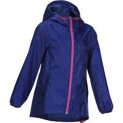 Regenjas meisjes voor trekking Hike 100 grijs met tribalopdruk
