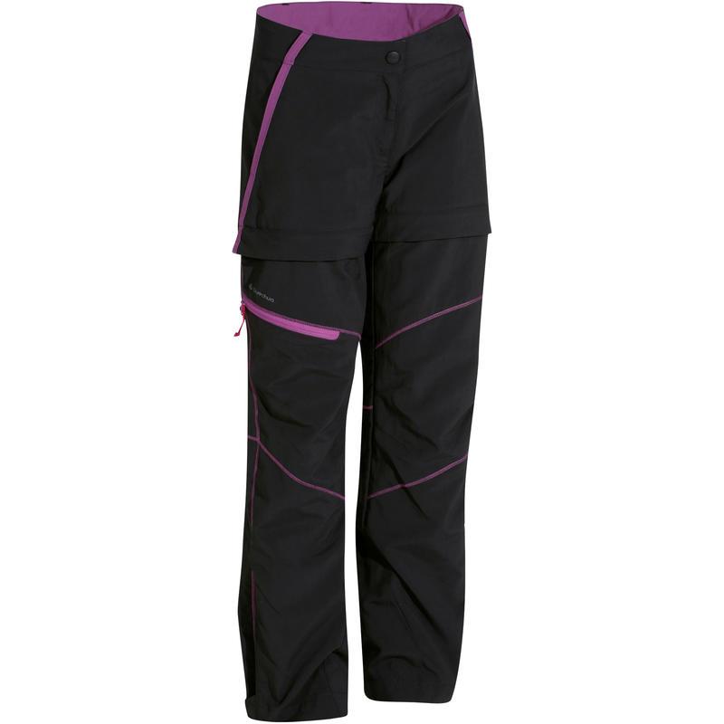 Hike 900 Children's Modular Hiking Trousers - Black