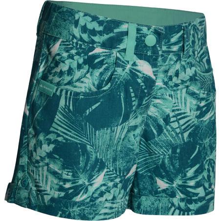 Hike 500 Girl's Hiking Shorts – Green Print