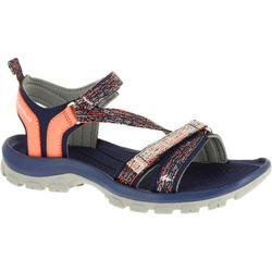 女款郊野健行涼鞋NH110-灰色/珊瑚紅