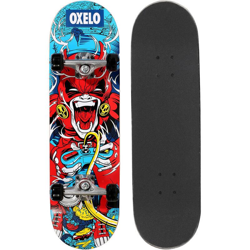 SKATEBOARD ZAČÁTKY Skateboarding, longboarding, waveboarding - SKATEBOARD MID100 ČERVENÝ OXELO - Vybavení na skateboard