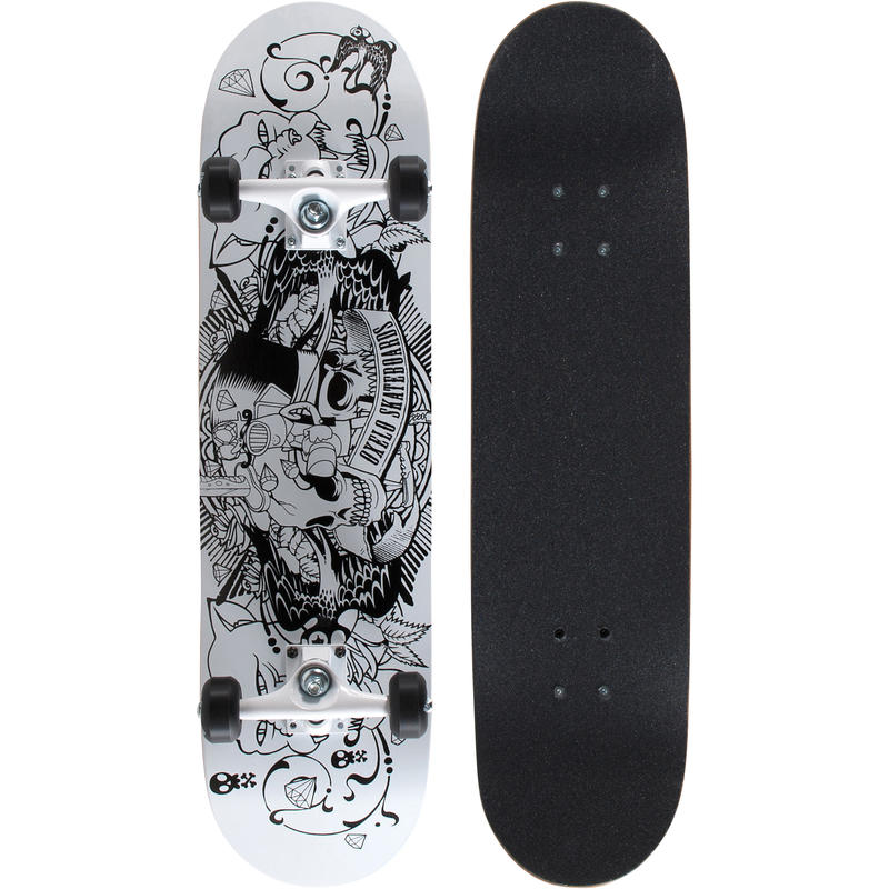 Mid 5 Tattoo Skateboard - White